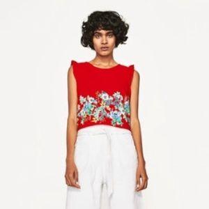 Zara Red Floral Print Cropped Sleeveless Tank Top